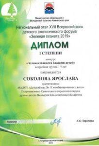 Победа в региональном этапе XVII Всероссийского детского экологического форума «Зеленая планета 2019»